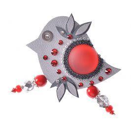 Petra Švarcová Stříbrná brož s červenými detaily Pták