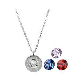 Levien Ocelový náhrdelník 4 v 1 s výměnnými krystaly C-LSI-SA-V