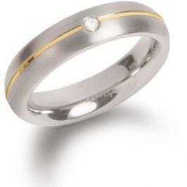 Boccia Titanium Titanový snubní prsten s diamantem 0130-06 53 mm