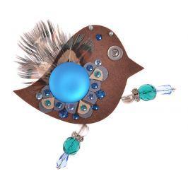 Petra Švarcová Hnědá brož s pravým peřím a modrým kamenem Pták