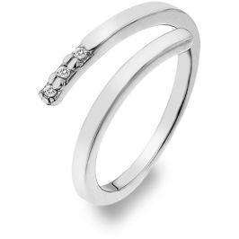Hot Diamonds Stříbrný prsten se zirkony a diamantem Glide DR173 52 mm