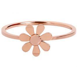 Troli Růžově pozlacený ocelový prsten s kytičkou 57 mm