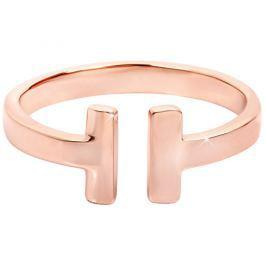 Troli Otevřený růžově pozlacený prsten z oceli 52 mm
