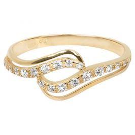Brilio Zlatý prsten s čirými krystaly 229 001 00638 58 mm