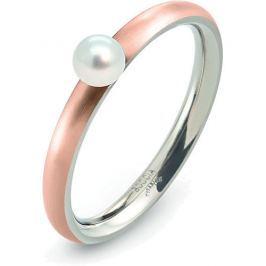 Boccia Titanium Růžově pozlacený titanový prsten s perličkou 0145-03 55 mm