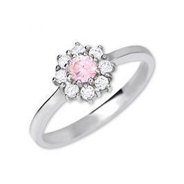 Brilio Silver Stříbrný zásnubní prsten 426 001 00432 04 - růžový - 2,30 g 58 mm