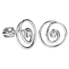 Brilio Silver Spirálkové náušnice s krystalem 436 001 00444 04 - 1,46 g