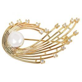 JwL Luxury Pearls Perlová pozlacená brož s pravou bílou perlou a krystaly JL0377