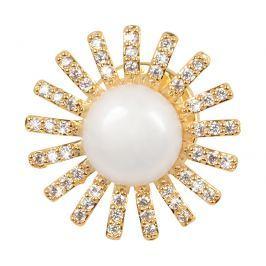 JwL Luxury Pearls Pozlacená ozdoba do klopy saka s pravou perlou a krystaly JL0381