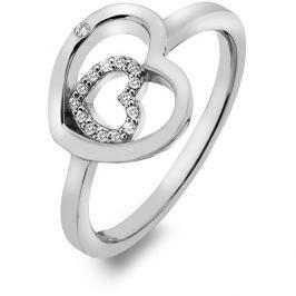 Hot Diamonds Stříbrný srdíčkový prsten Adorable Encased DR201 55 mm