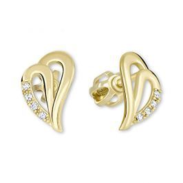 Brilio Zlaté náušnice srdce s krystaly 239 001 00738 - 1,45 g