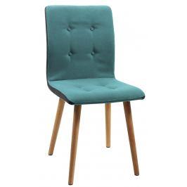 SCANDI Petrolejově zelená látková jídelní židle Fredy