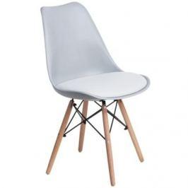 Culty Světle šedá židle DSW s bílým čalouněným podsedákem