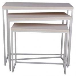 Culty Bílý kovový set odkládacích stolků Onero s dřevěnou deskou